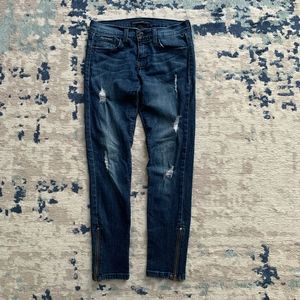 Flying Monkey Distressed Ripped Skinny Zip Jeans